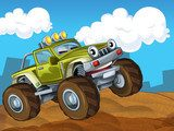 The off road cartoon car - illustration for the children  Fototapety do Pokoju Chłopca Fototapeta