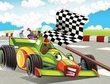 The formula race - super car - illustration for the children  Fototapety do Pokoju Chłopca Fototapeta