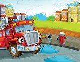 The red firetruck - duty - illustration for the children  Fototapety do Pokoju Chłopca Fototapeta