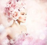 Fashion Beauty Model Girl with Flowers Hair. Bride  Kwiaty Plakat