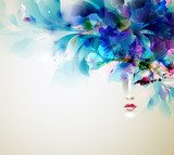 Beautiful abstract women with abstract design elements  Kwiaty Plakat