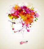 Beautiful fashion women with abstract hair and design elements  Kwiaty Plakat