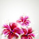 Tender background with growing abstract flowers  Kwiaty Plakat