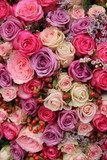 purple and pink roses wedding arrangement  Kwiaty Plakat
