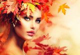 Autumn Woman Portrait. Beauty Fashion Model Girl  Ludzie Plakat