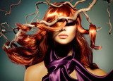 Fashion Model Woman Portrait with Long Curly Red Hair  Ludzie Plakat