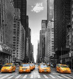 Avenue avec des taxis à New York.  Architektura Plakat