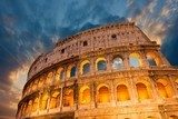 Wonderful view of Colosseum in all its magnificience - Autumn su  Architektura Plakat