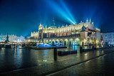 Poland, Krakow. Market Square at night.  Architektura Plakat