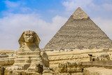 Sphinx and the Great Pyramid in the Egypt  Architektura Plakat