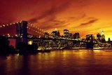 Brooklyn Bridge and Manhattan at sunset, New York  Architektura Plakat