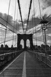 Pont de Brooklyn noir et blanc - New-York  Architektura Plakat