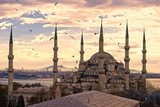 The Blue Mosque, Istanbul, Turkey.  Architektura Plakat