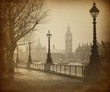 Vintage Retro Picture of Big Ben / Houses of Parliament (London)  Architektura Plakat