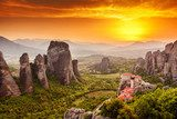 Meteora Roussanou Monastery at sunset, Greece  Architektura Plakat