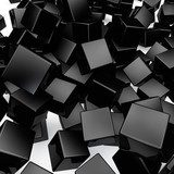 Falling 3D black rounded cubes background.  3D Fototapeta