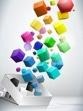 Colorful Flying Cubes Background  3D Fototapeta