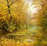 beautiful autumn landscape, canvas, oil  Olejne Obraz