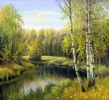 autumn landscape, canvas, oil  Olejne Obraz