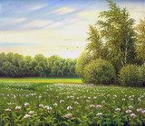 beautiful summer landscape, canvas, oil  Olejne Obraz