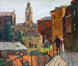 the city landscape of Vitebsk drawn with oil on a canvas  Olejne Obraz