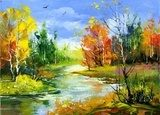 Autumn landscape with the wood river  Olejne Obraz