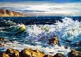 Storm waves on seacoast  Olejne Obraz