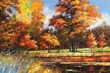 Autumn landscape on the bank of the river  Olejne Obraz