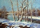 Winter landscape on the bank of the river  Olejne Obraz