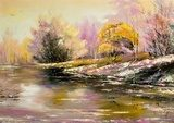 Autumn landscape with snow and the river  Olejne Obraz