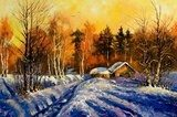 Evening in winter village  Olejne Obraz