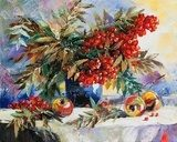 Still-life with a mountain ash and apples  Olejne Obraz