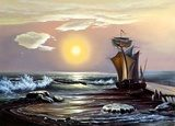 Sailing boat against the coming sun  Olejne Obraz