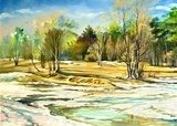 Spring landscape with trees and a snow  Olejne Obraz