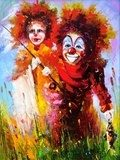 Two clowns on fishing  Olejne Obraz