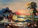 Sea landscape with palm trees and seagulls  Olejne Obraz