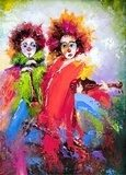 Two clowns with a violin and a pipe  Olejne Obraz