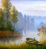 the boat on the bank of the lake, a canvas, oil  Olejne Obraz