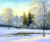 beautiful winter landscape, canvas, oil  Olejne Obraz