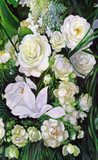 bouquet of white roses, canvas, oil  Olejne Obraz