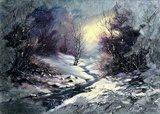 Landscape with winter wood small river  Olejne Obraz