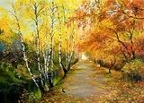 Autumn road along the channel  Olejne Obraz