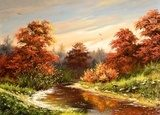 Autumn landscape with the river  Olejne Obraz