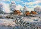 The winter rural landscape drawn by oil on a canvas  Olejne Obraz