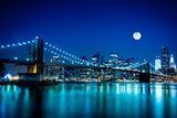Night Scene Brooklyn Bridge and New York City  Mosty Fototapeta