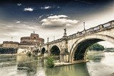 Castel Sant'Angelo and its bridge.  Fototapety Mosty Fototapeta