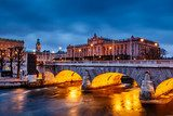 Riksdag Building and Norrbro Bridge in the Evening, Stockholm, S  Fototapety Mosty Fototapeta