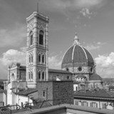 fantastic view of cathedral of Florence  Czarno-Białe Fototapeta