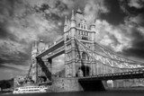 Tower Bridge in black and white style in London, UK  Czarno-Białe Fototapeta