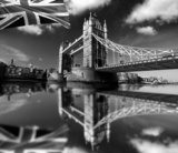 Famous Tower Bridge with flag in London, UK  Czarno-Białe Fototapeta